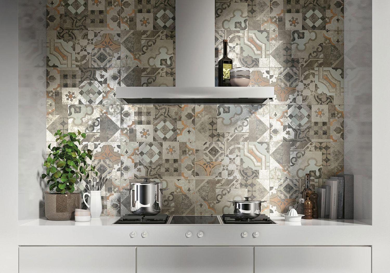 Gres Porcellanato Piastrelle Cucina piastrelle effetto cementine per cucina in gres porcellanato